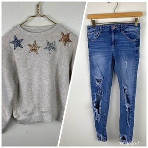 Zara Kids 11/12 Pullover Distressed Jeans 2 Pc.
